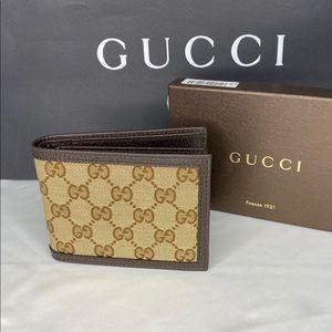 Gucci GG Logo Beige Canvas Leather Tri-Fold Wallet